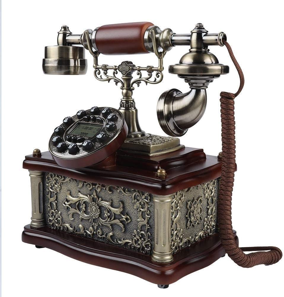 ZQY Teléfono Antiguo Identificador De Llamadas De La Manera Europea Creativo De La Línea Horizonte Móvil De La Tarjeta Inalámbrica De Madera Maciza