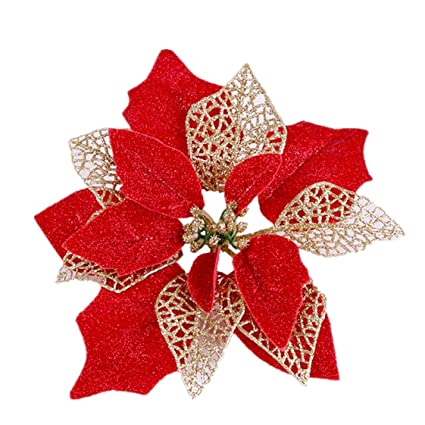 Pointsetta Christmas Tree.Osiga Pack Of 12 Glitter Poinsettia Christmas Tree Ornaments Christmas Decorations Flower Red
