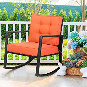 """Tangkula Wicker Rocking Chair, Outdoor Glider Rattan Rocker Chair with Heavy-Duty Steel Frame, Patio Wicker Furniture Seat with 5"""" Thick Cushion for Garden, Porch, Backyard, Poolside (1, Orange)"""