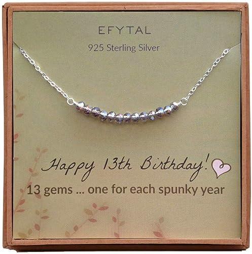Amazon.com: EFYTAL 13º cumpleaños regalo para niñas, collar ...