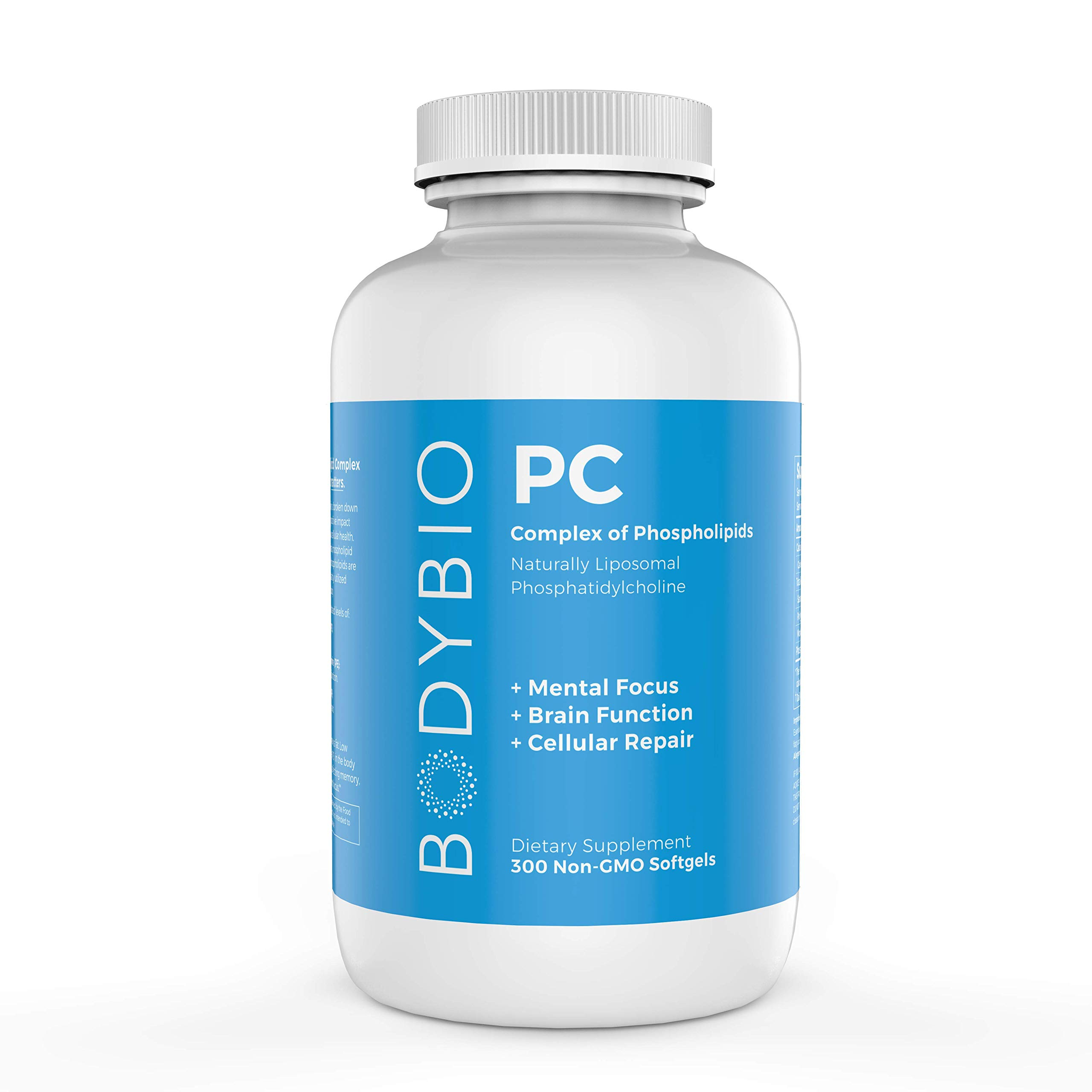 BodyBio - PC Phosphatidylcholine, Liposomal Phospholipid Complex for Cell Health - Enhance Brain Function, Focus, Memory & Clarity - Microbiome Support - Science & Research Backed - 300 Softgels by BodyBio
