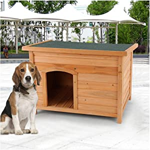 Outdoor Wooden Dog House | Weather-Resistant Wood Pet House Log Cabin, Dog Kennel, Home Pet Furniture for Small Medium Large Animals (L, from US)