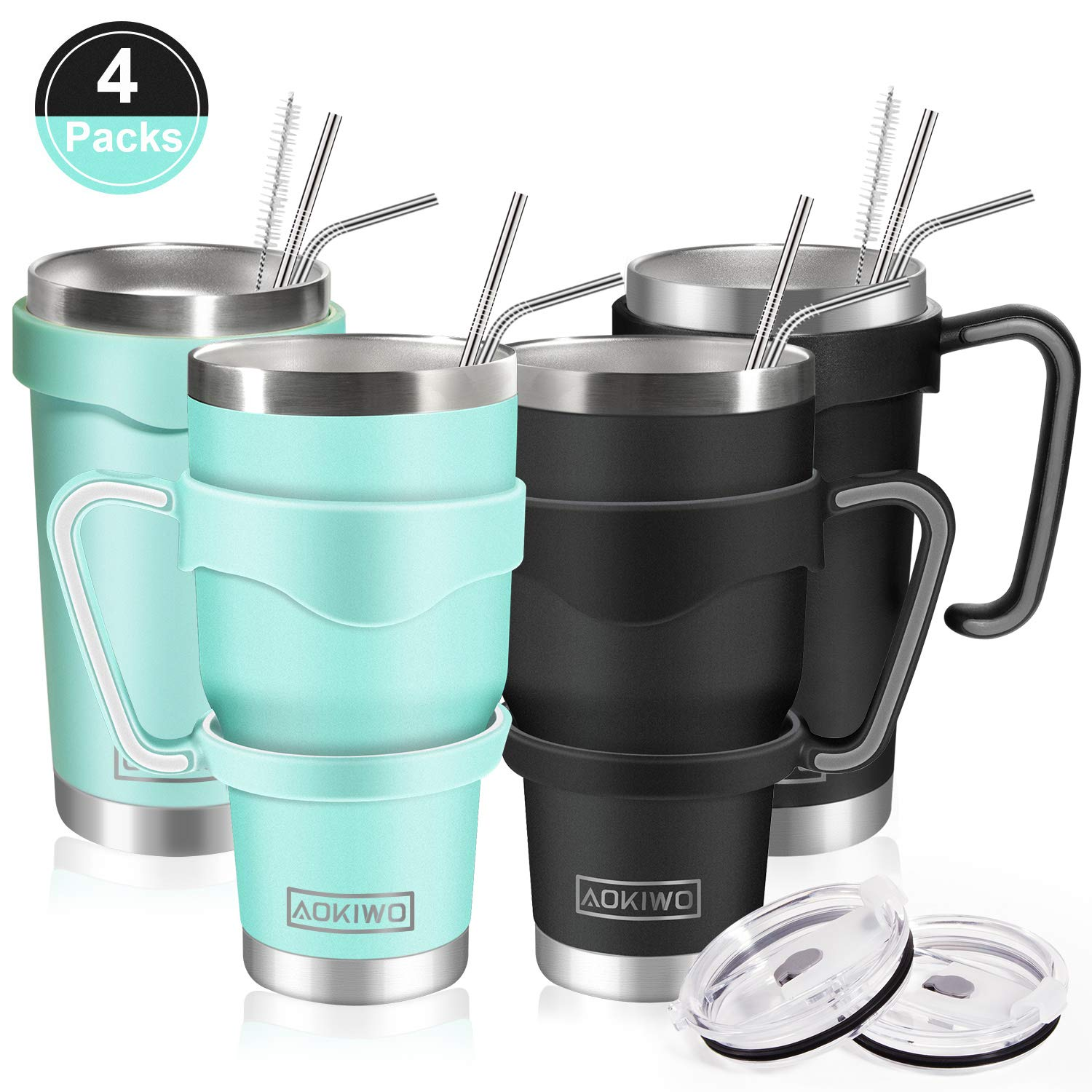 20oz and 30oz Tumbler, AOKIWO [4 Packs] Stainless Steel Insulated Tumblers Double Wall Vacuum Tumble Travel Mug with 4 Lids, 8 Straws, 2 Brush and 4 Handles