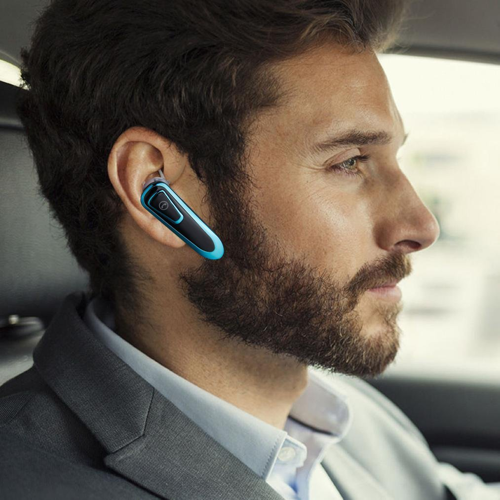 Bluetooth Earpiece Headsets for Safety Drive and Office Business, Car Speakerphone Handsfree, 24hour Long Battery Playtime Earbuds, In Ear Headphones with Microphone Noise Cancelling for Taxi Uber by BilmiX (Image #4)