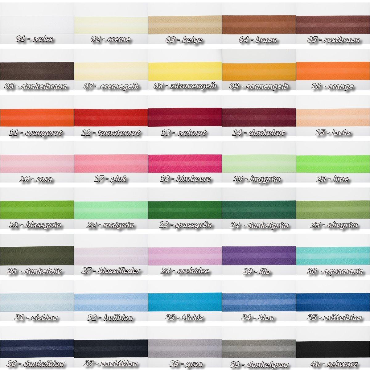 Jajasio Baumwoll Schrägband 25mm breit in 40 Farben, Einfassband ...
