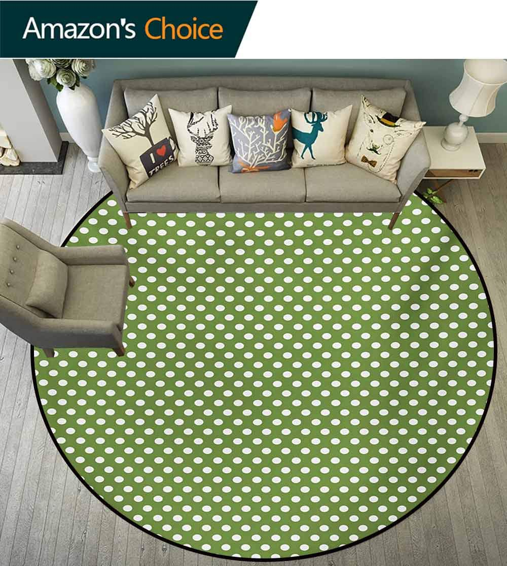 RUGSMAT Green Super Soft Circle Rugs for Girls,White Polka Dots On Green Backdrop Classic Simplistic Pattern Design Print Circular Area Rugs for Kids Bedroom,Diameter-71 Inch Olive Green and White