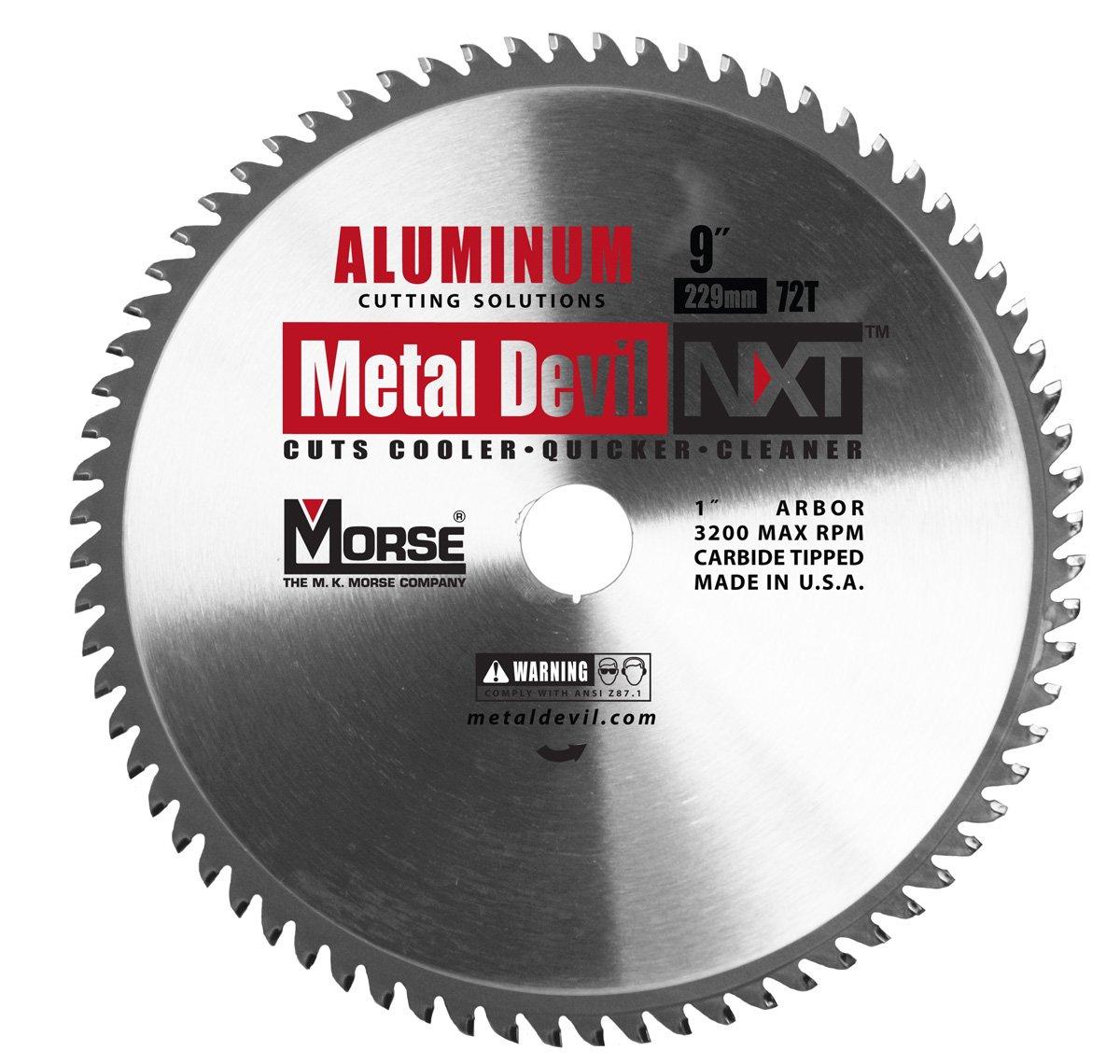 MK Morse  CSM972NAC Metal Devil Circular Saw Blade, Aluminum Application, 9-Inch Diameter, 72 TPI, 1-Inch Arbor