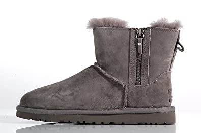 UGG Australia Mini Double Zip Boots Grey – Boots Low in Montone Grey with Hinges Grey