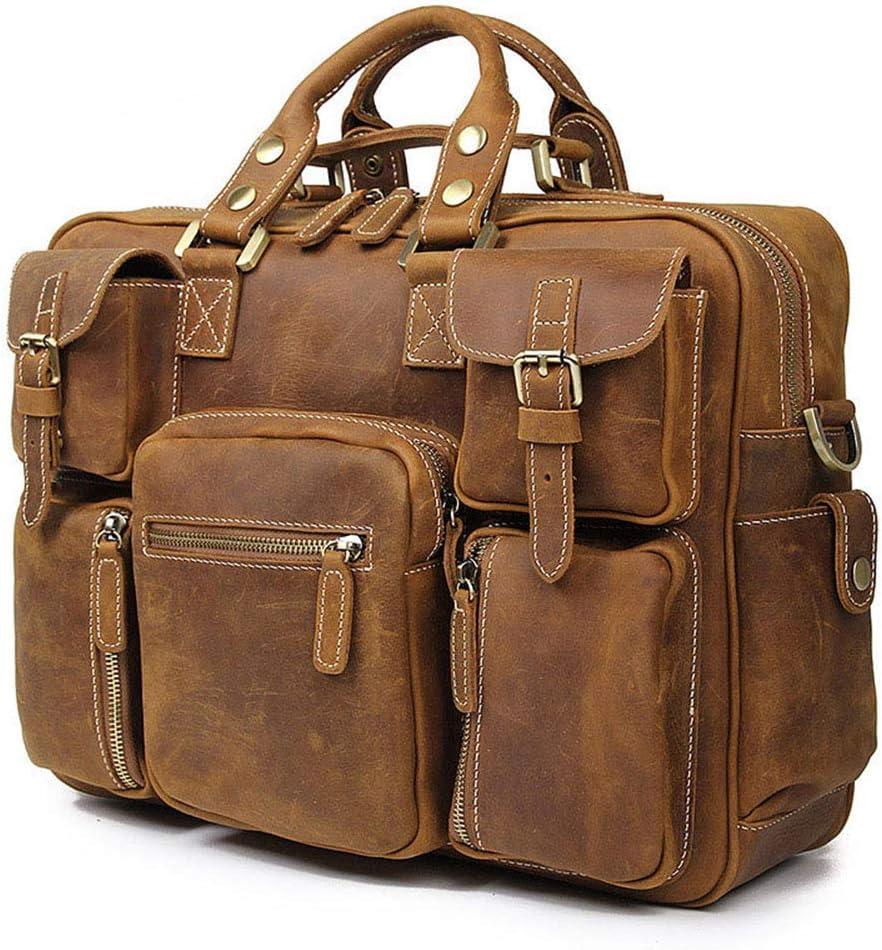 Mens Business Bag Briefcase Mens Leather Handbag Shoulder Bag Retro Leather Satchel Unisex Long Strap Crossbody Travel Messenger Bags 16 Inch 3 Colors Adjustable shoulder bag travel on business trip