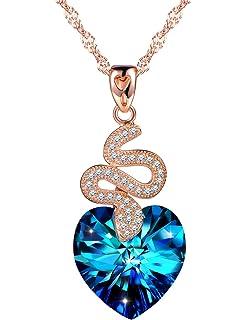 1de61a659de99 SIXLUO Collier Swarovski Pendentif saphir Le serpent embrasse le cœur  Collier en argent 925 et cristal