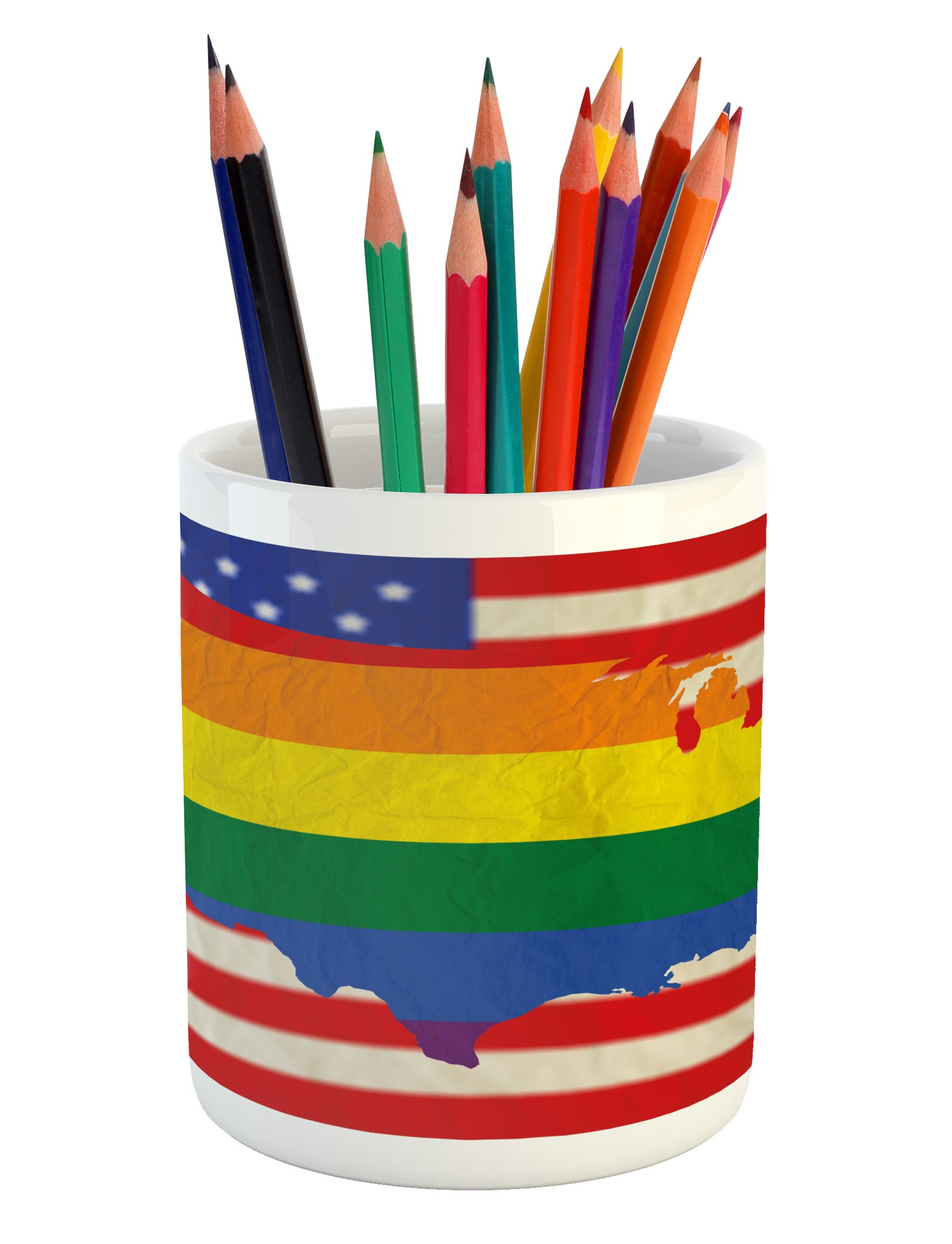 Ambesonne Pride Pencil Pen Holder, USA American Flag with Rainbow Gay Marriage Nationwide Rights and Equality Theme, Printed Ceramic Pencil Pen Holder for Desk Office Accessory, Multicolor