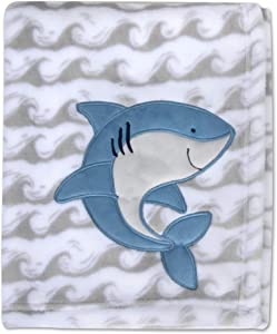 Baby Essentials Plush Fleece Throw and Receiving Baby Blankets for Boys and Girls (Happy Shark)