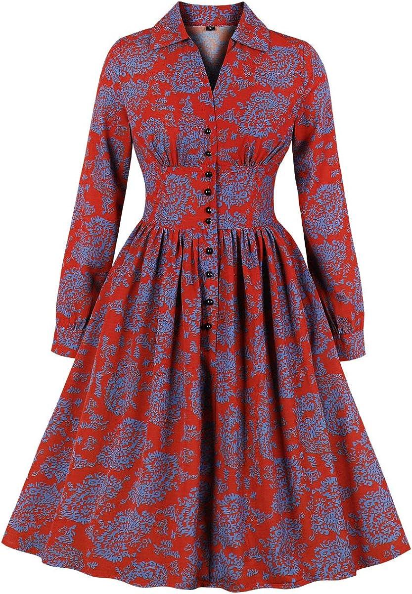 1950s Dresses, 50s Dresses | 1950s Style Dresses Wellwits Womens Split Neck Floral Button 1940s Day 1950s Vintage Tea Dress $23.98 AT vintagedancer.com