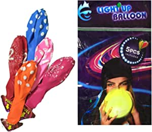 5 قطع من البالونات المضيئة بإضاءة LED ملونة