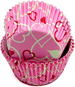 Chef Craft Paper Patterned Cupcake Liners, One Size, Pink/White/Red