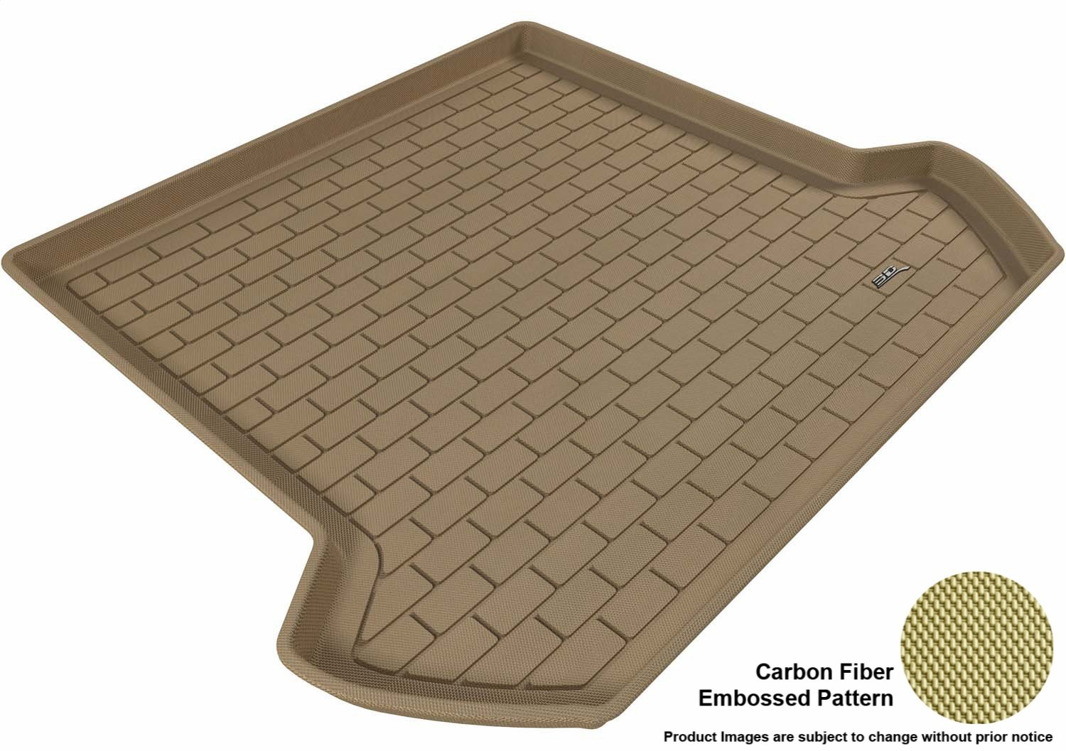 3D MAXpider Third Row Custom Fit All-Weather Floor Mat for Select Volvo XC90 Models L1VV00431502 Kagu Rubber Tan