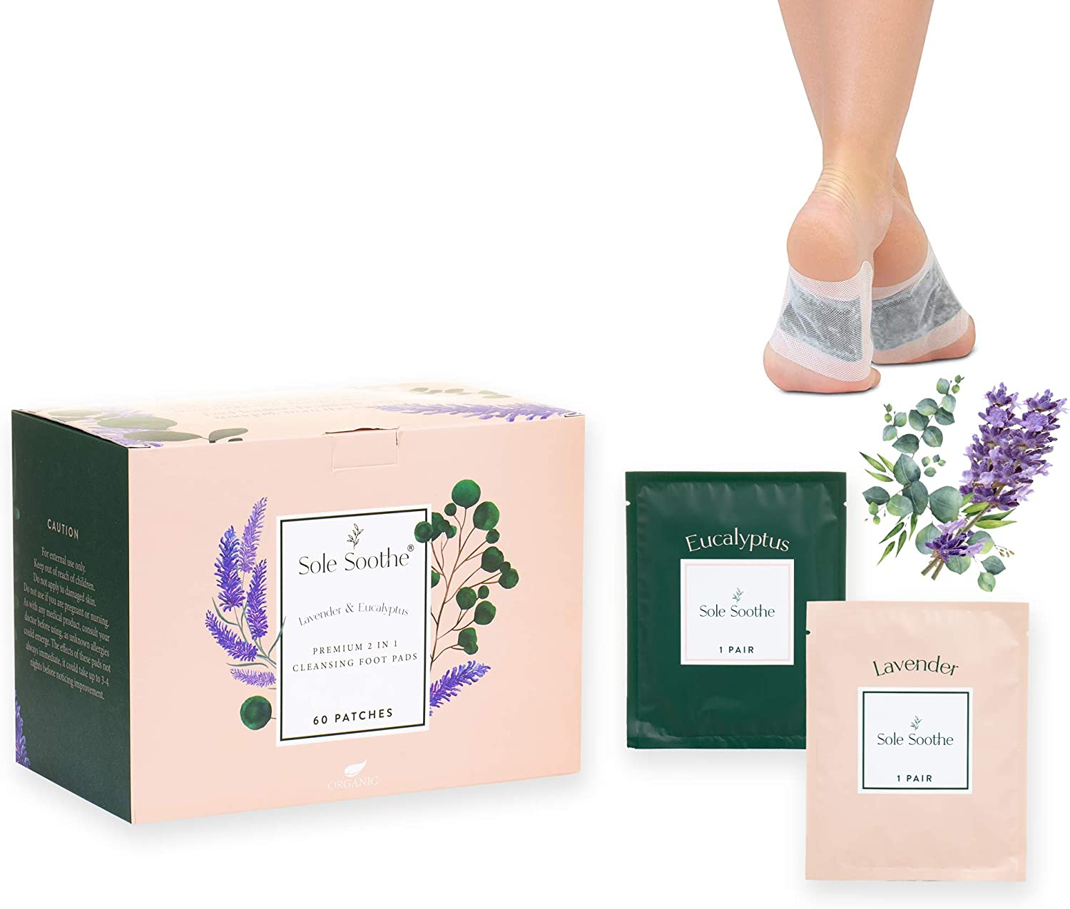 Sole Soothe Foot Pads Lavender Eucalyptus - All Natural Cleanse Feet Patches - Premium 2 in 1 Foot Care Pads Overnight Aromatherapy Treatment for Deep Sleep, Energy, Anti-Stress - 60 Foot Patches