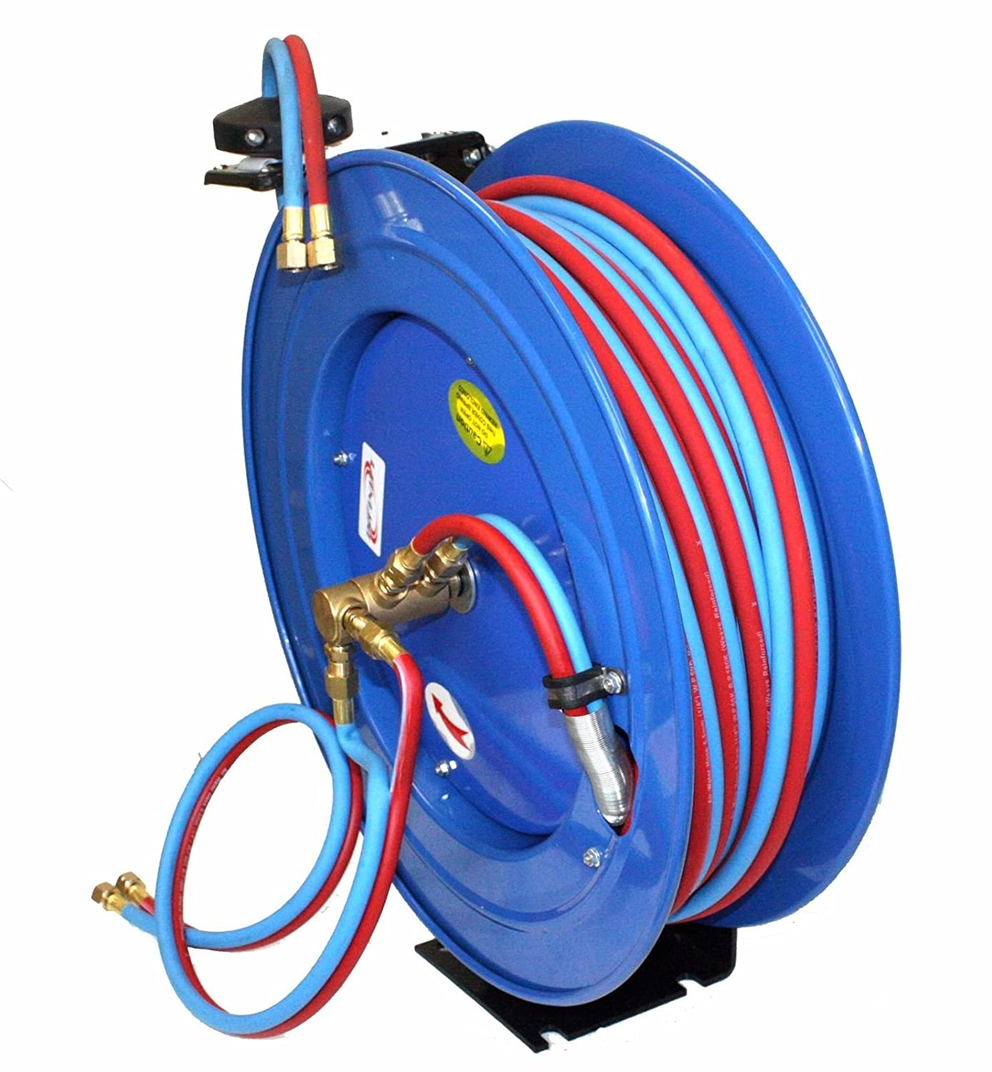 9TRADING Retractable Auto Rewind Welding Hose Reel Wall Ceiling With 100ft Oxygen Acetylene