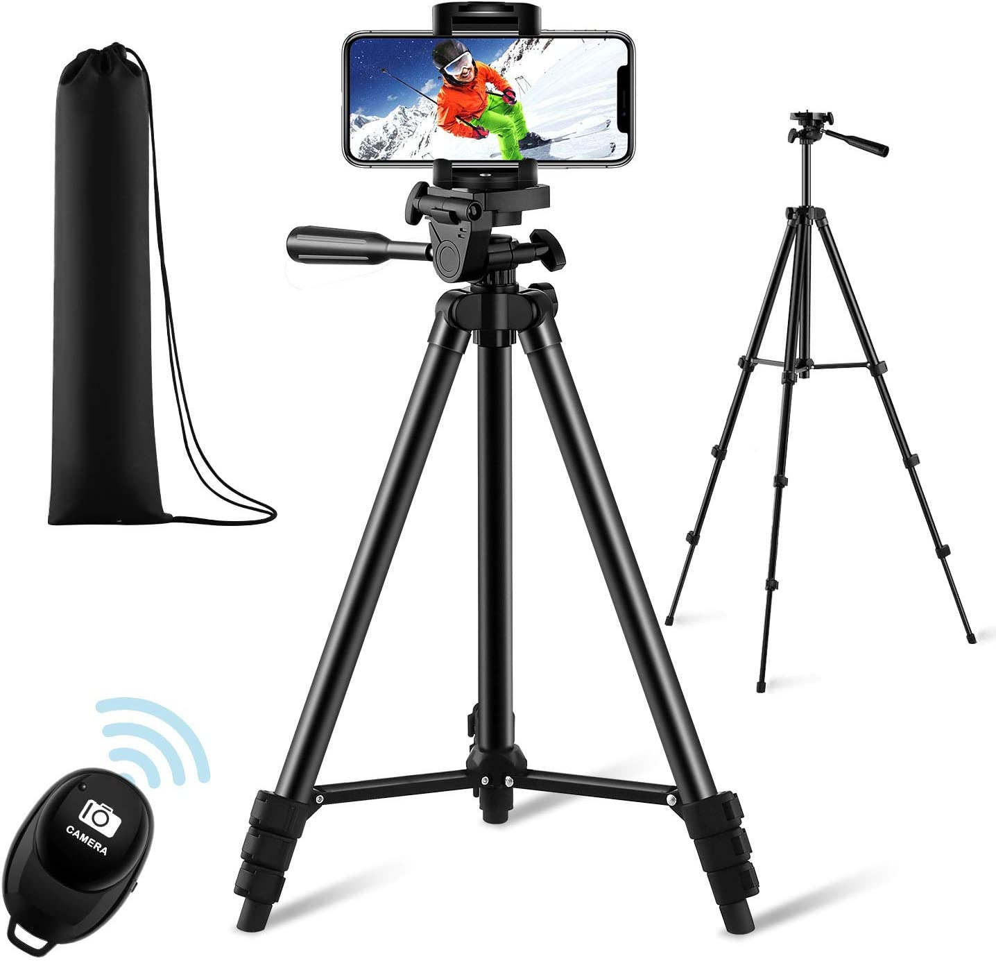 "【New Version】 Phone Tripod, Premium Aluminum Alloy Camera Tripod with Cell Phone Mount & Wireless Bluetooth Remote, Professional 50"" Extendable Portable Tripod Stand, Compatible with iOS/Android : Camera & Photo"