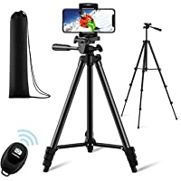 【New Version】 Phone Tripod, Premium Aluminum Alloy Camera Tripod with Cell Phone Mount & Wireless Bluetooth Remote…