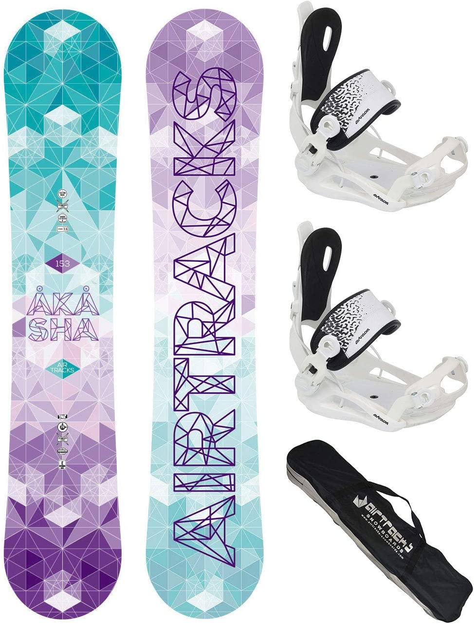 Boots Airtracks Snowboard KOMPLETT Set//Fantasy Carbon Snowboard Wide Flat Rocker SB Bag // 148 153 158 // cm BINDUNG Master FASTEC