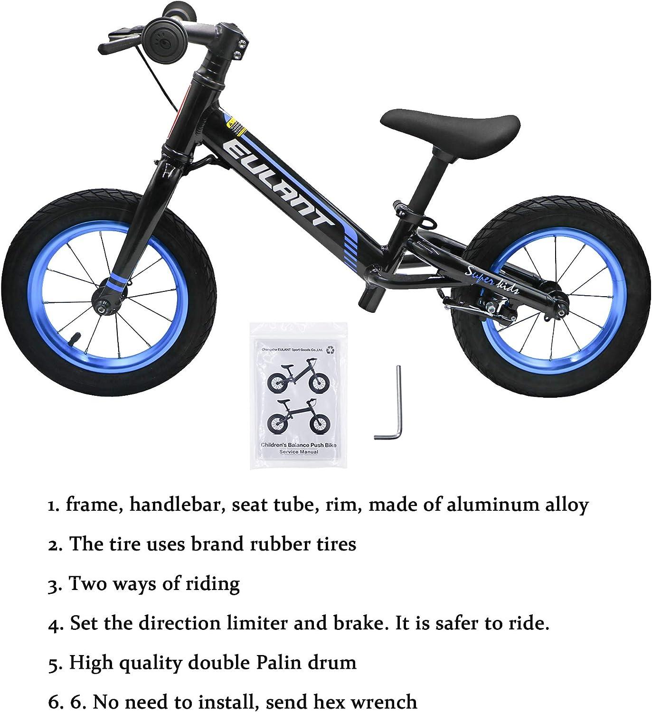 12-Zoll-Reifen mit Bremse Laufr/äder f/ür Kinder Kein Pedal Prime-Qualit/ät Aluminiumlegierung Fahrradrahmen EULANT Kids Balance Bike f/ür Alter 2-6 Jahre Lenkungsbegrenzung