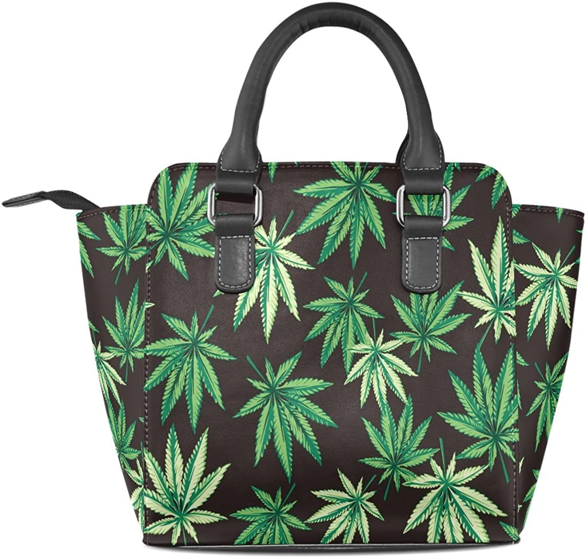 Use4 Marijuana Leaves Green Rivet PU Leather Tote Bag Shoulder Bag Purse