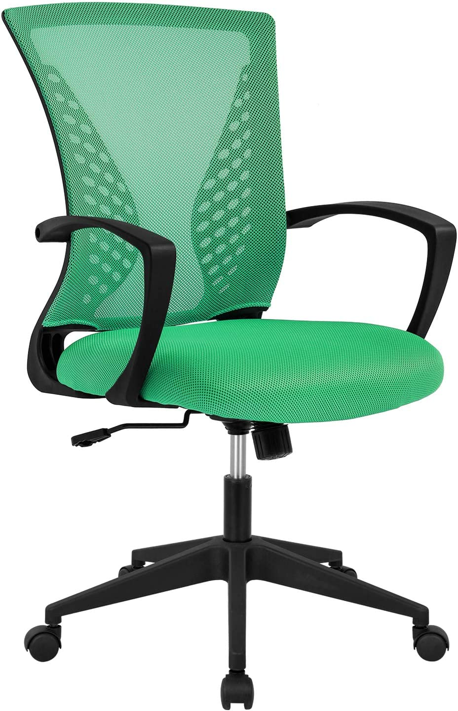 Ergonomic Office Chair Desk Computer Mesh Executive Task Rolling Gaming Swivel Modern Adjustable with Mid Back Lumbar Support Armrest for Home Women Men,Green