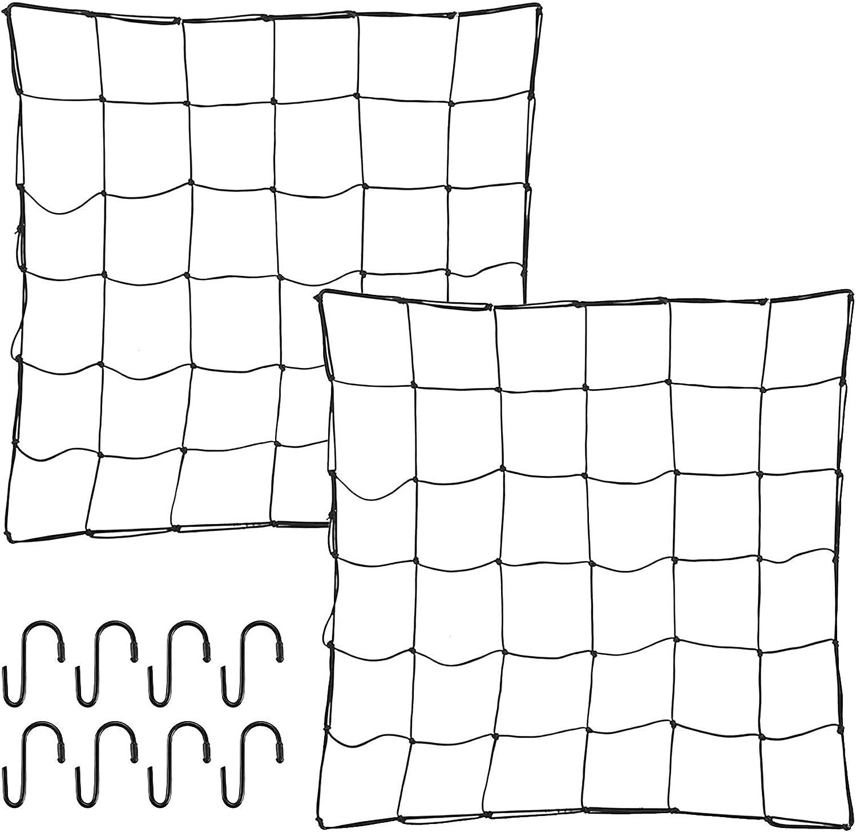 ZJIA 2 Pack Trellis Netting for Grow Tent 4x4 FT Flexible Net Trellis with 8 Steel Hooks