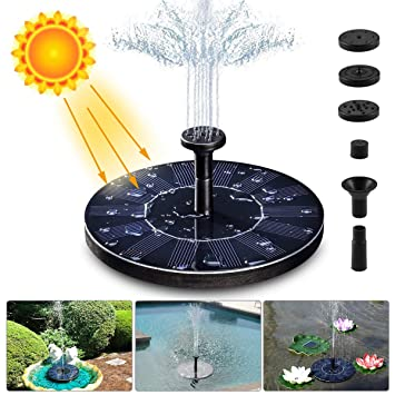 LIUMY Solar Fountain Pump, 1 4W 150L / H Circle Solar Power Water Fountain  Panel with 6 Attaches, Floating Pump for Pond, Fountain, BirdBath, Garden