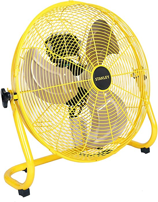 "STANLEY ST-18F High Velocity Direct Drive Floor Fan 18"" Yellow, Black, 18 Inches,"