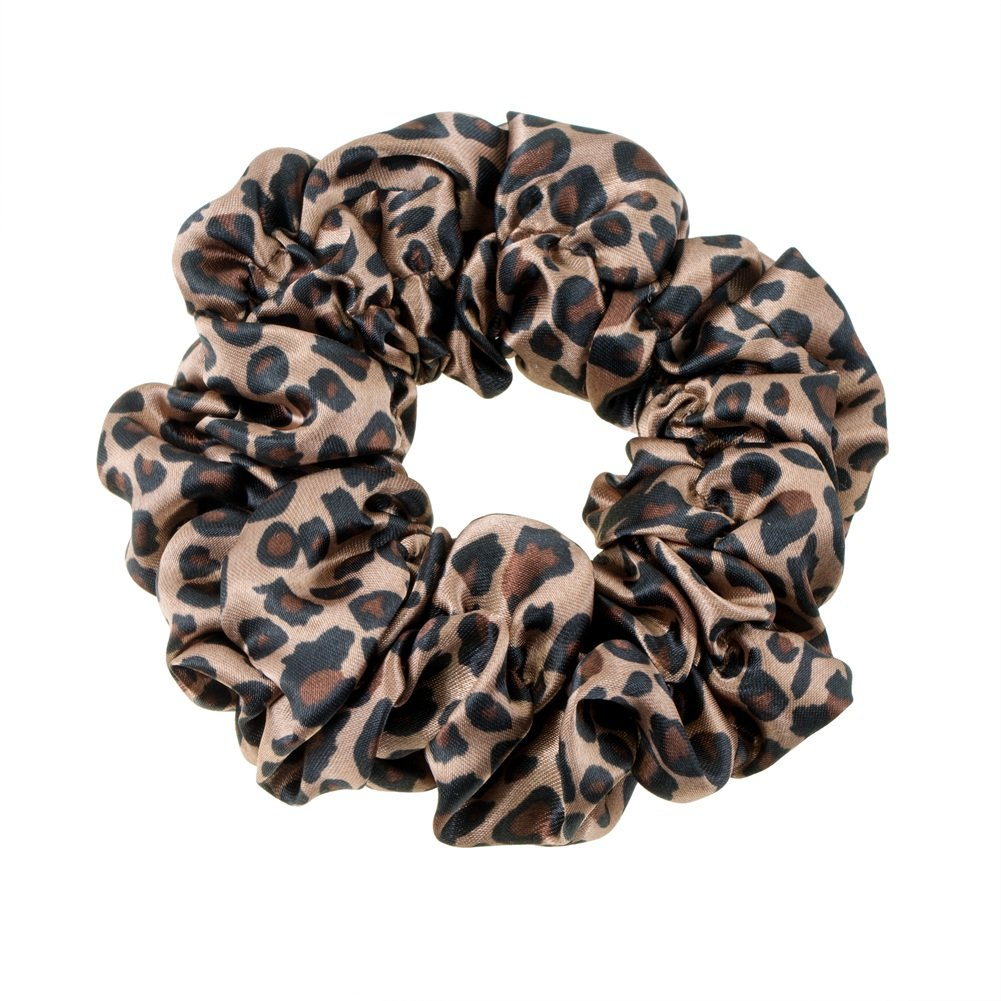 Great Quality Regular Soft Satin Hairband/Hair Scrunchy/Ponytail Holder/Elastic Band With Leopard Pattern In Black And Beige Colours By VAGA