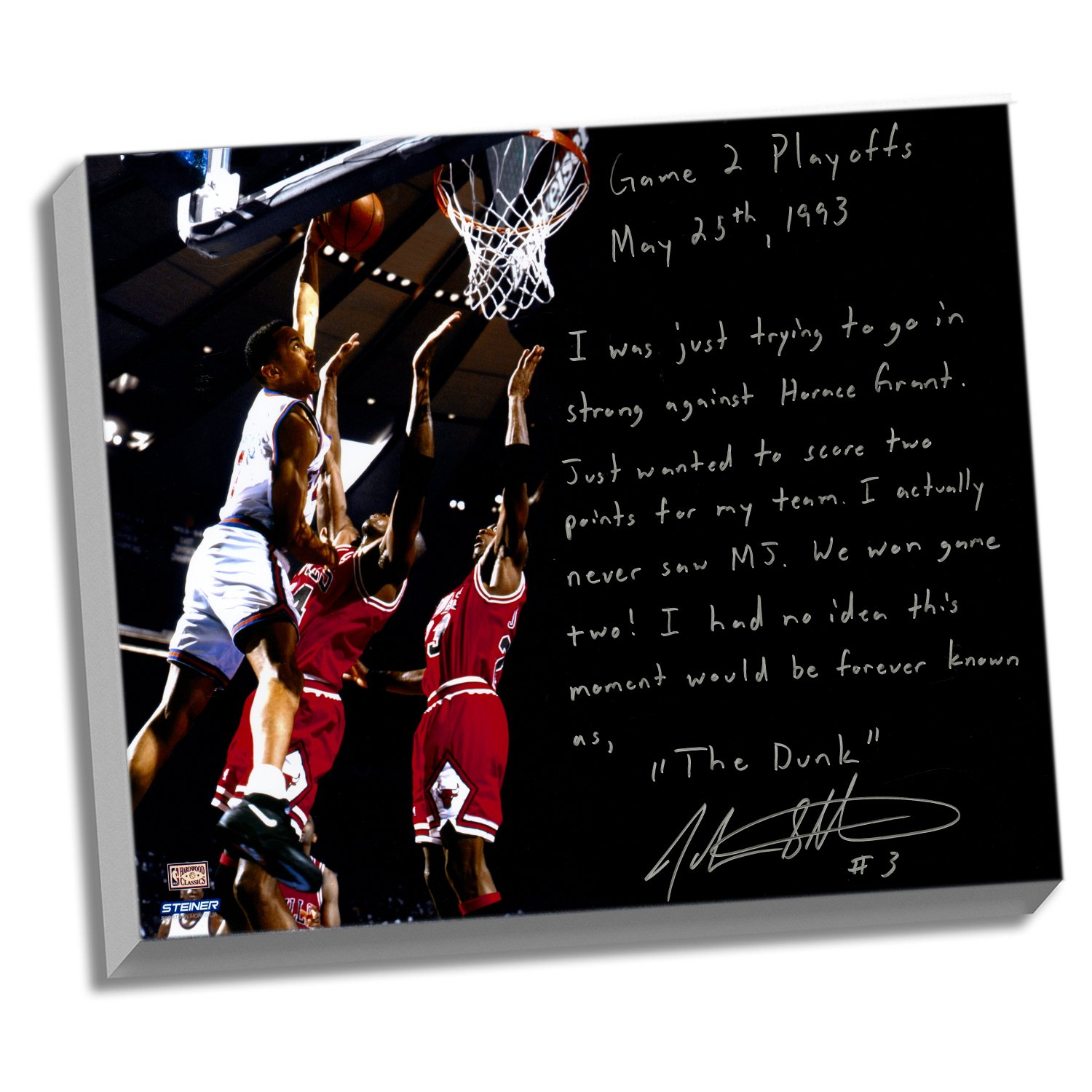 NBA New York Knicks 22x26 John Starks Facsimile 'Game 2 Dunk Over Jordan' Story Stretched Canvas