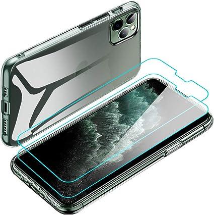 Coque iPhone 11 Pro Max 2X Protection d'écran en Verre Trempé Housse Souple Clair Mince Étui en Silicone Gel TPU