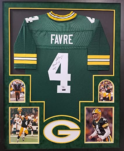 Brett Favre Green Bay Packers Autograph Signed Custom Framed Jersey Suede  Mat Retired   Date Inscribed e7f1a96e2
