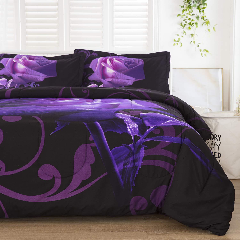 "Purple Comforter Set Queen Reversible Purple Rose Pattern Printed Bedding Down Comforter Insert with 2 Pillow Cases for All Seasons,Soft Microfiber Inner Filling Comforter Duvet Set for Girls 90""x90"""