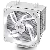 DEEPCOOL GAMMAXX 400WH CPU Air Cooler with 4 Heatpipes, 120mm PWM Fan and White LED for Intel/AMD CPU, AM4 Compatible