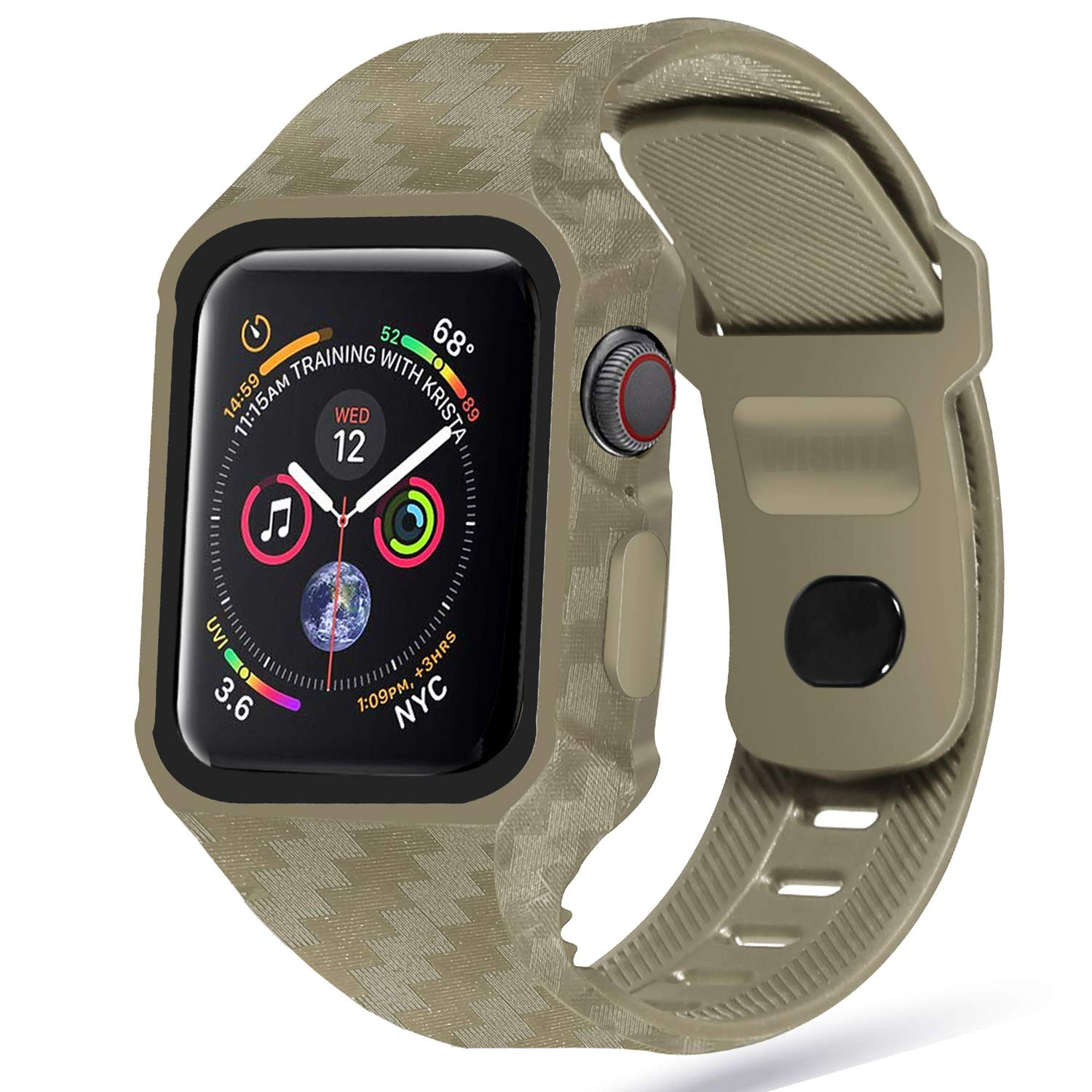 Wishta Compatible with Apple Watch 4 Case 44mm Band, Soft TPU Frame Protector Accessories with Sport Band for New iWatch Series 4 2018 (44mm-Greenish Brown case) by WISHTA