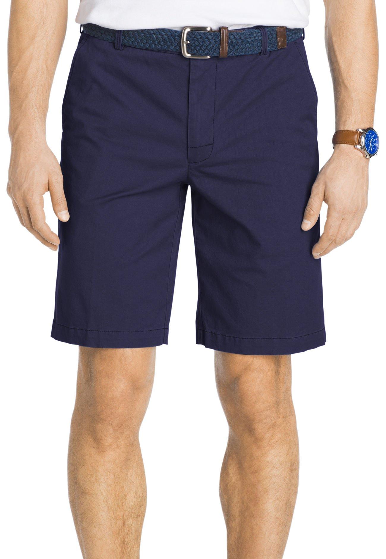 IZOD Men's Saltwater Flat Front Shorts, Cadet Navy, 32