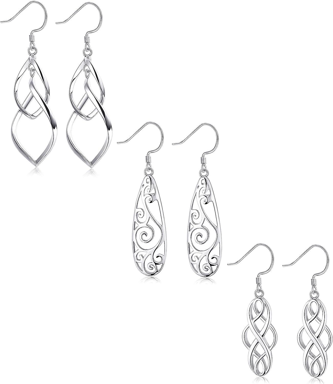 Sterling Silver Double Tassel Drop Dangle Earrings