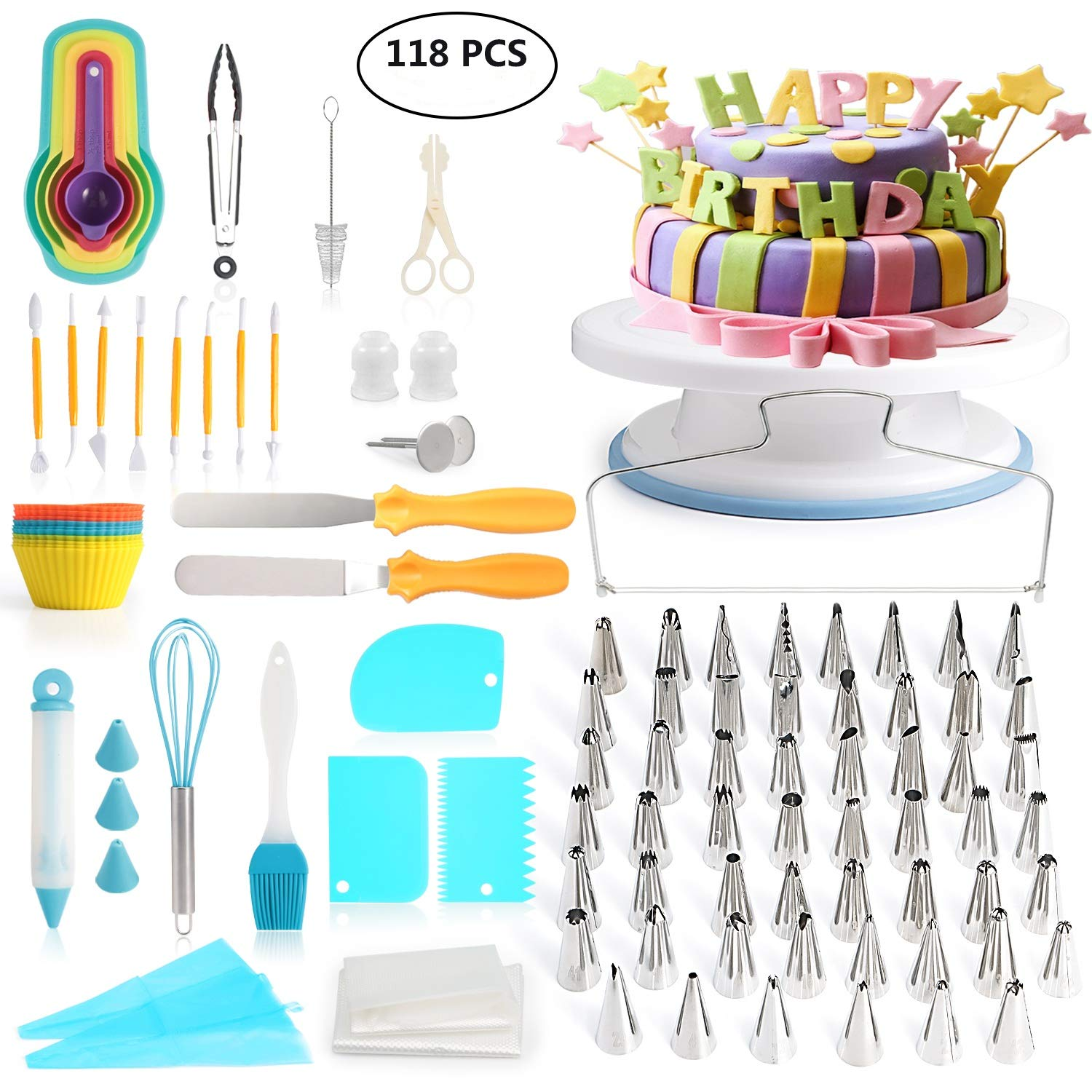 118 pcs Cake Decorating Supplies Kit Cake Baking Tools Cupcake Icing Tools Pastry Tools Cake Spinner Stand Cake Turntable 55 Cake Decorating Stainless Steel Tips for Kid Teen Beginner Birthday Party by JINDILONG
