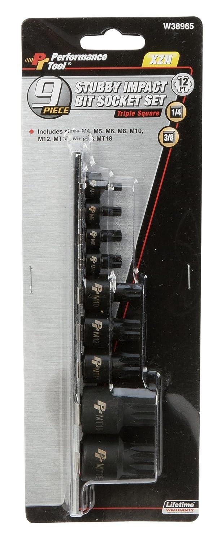 15 Piece Performance Tool W38803 Impact Tamper Resistant Star Bit with Socket Rail