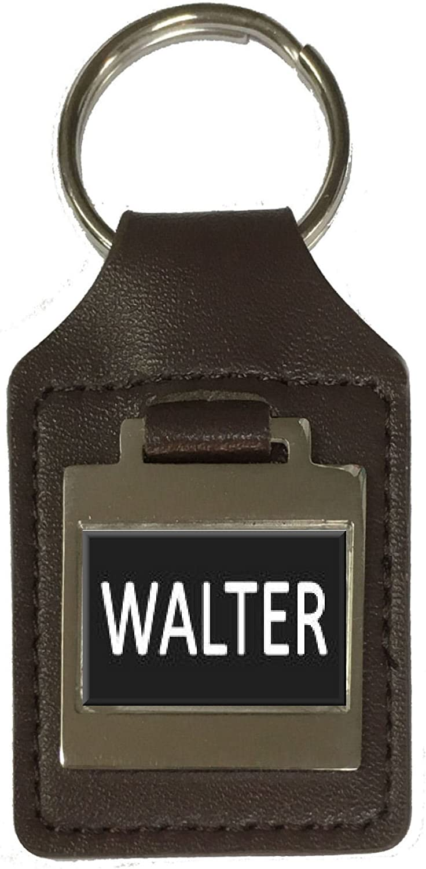 Walter Leather Keyring Birthday Name Optional Engraving