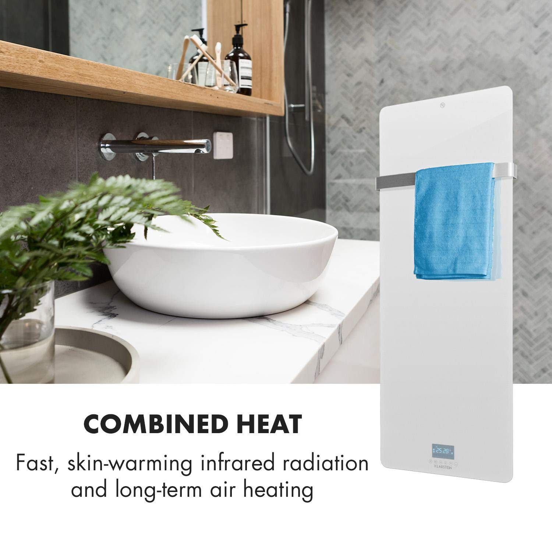 Display LED Temporizador semanal Soporte toallero de Acero Inoxidable Blanco Panel Calefactor por Infrarrojos Tecnolog/ía IR Comfort Heat Protecci/ón IP24 Klarstein Hot Spot Crystal IR