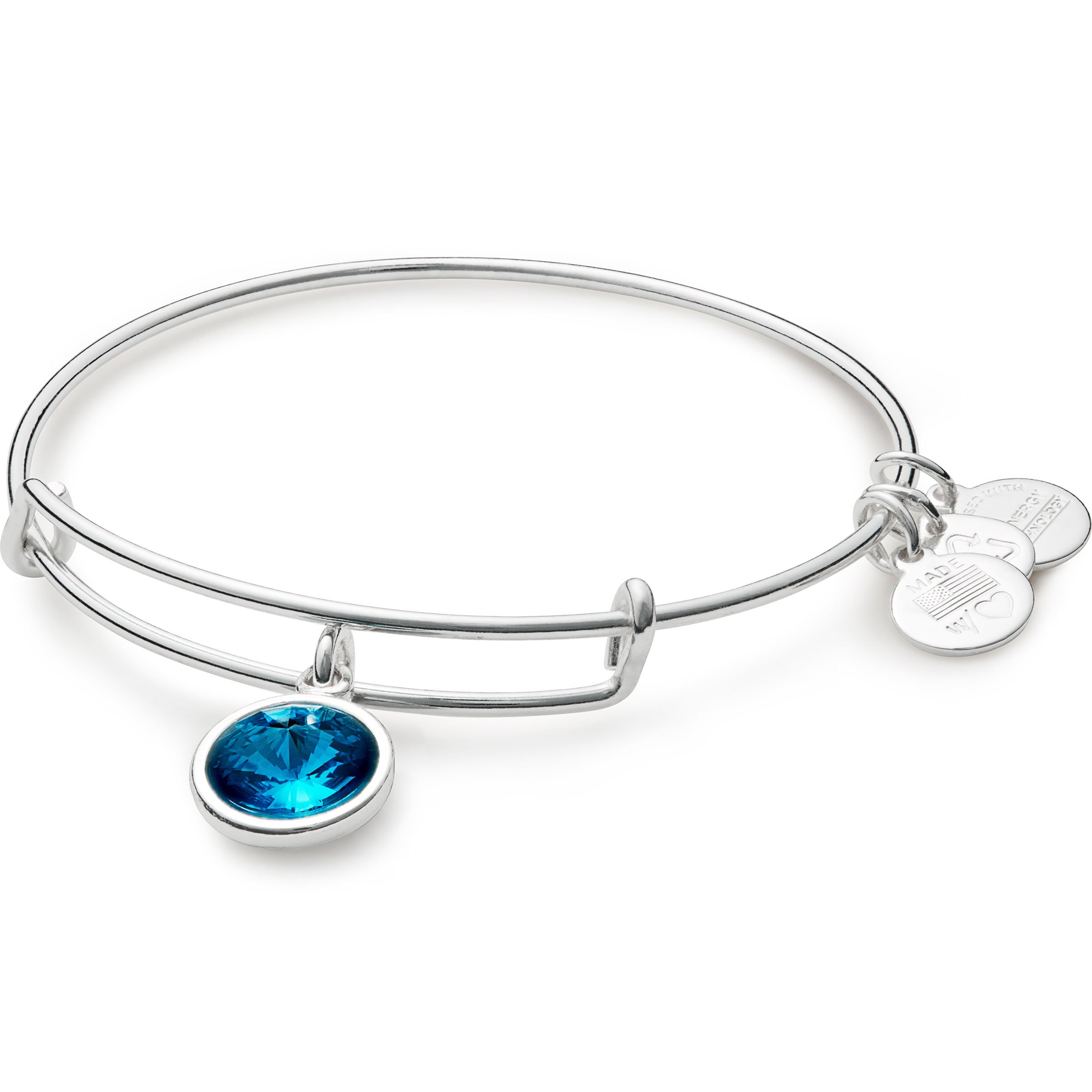 Alex and Ani ''Bangle Bar'' December Imitation Birthstone Shiny-Silver Tone Expandable Bracelet