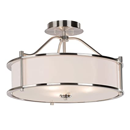 pretty nice bae94 ba11f Semi Flush Mount Ceiling Light 18 inch 3 Light Close to Ceiling Light with  Fabric Shade and Glass Diffuser, Brushed Nickel Drum Semi Flush Light for  ...