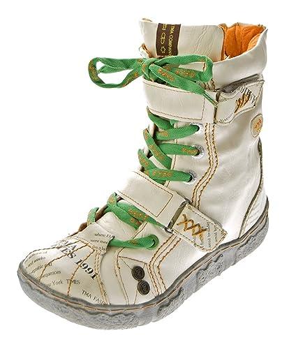 6a8475d5533a TMA Damen Leder Stiefeletten 7087-N Knöchel Schuhe gefüttert Winter Stiefel  Weiß N Used