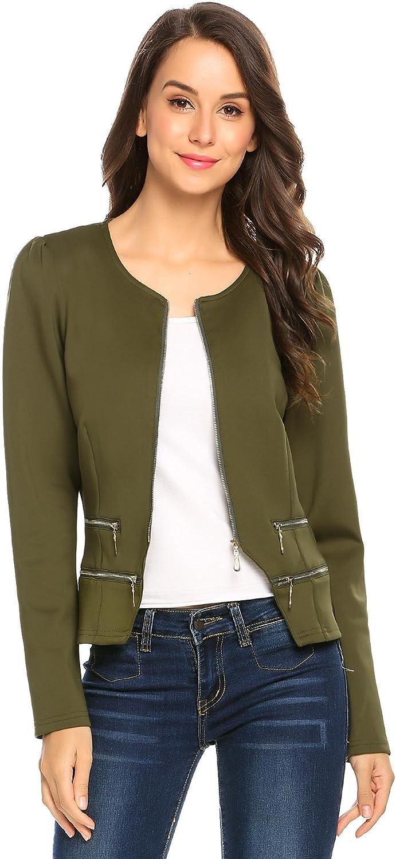 Women's Casual Collarless Cardigan Office Blazer Zipper Work Jacket