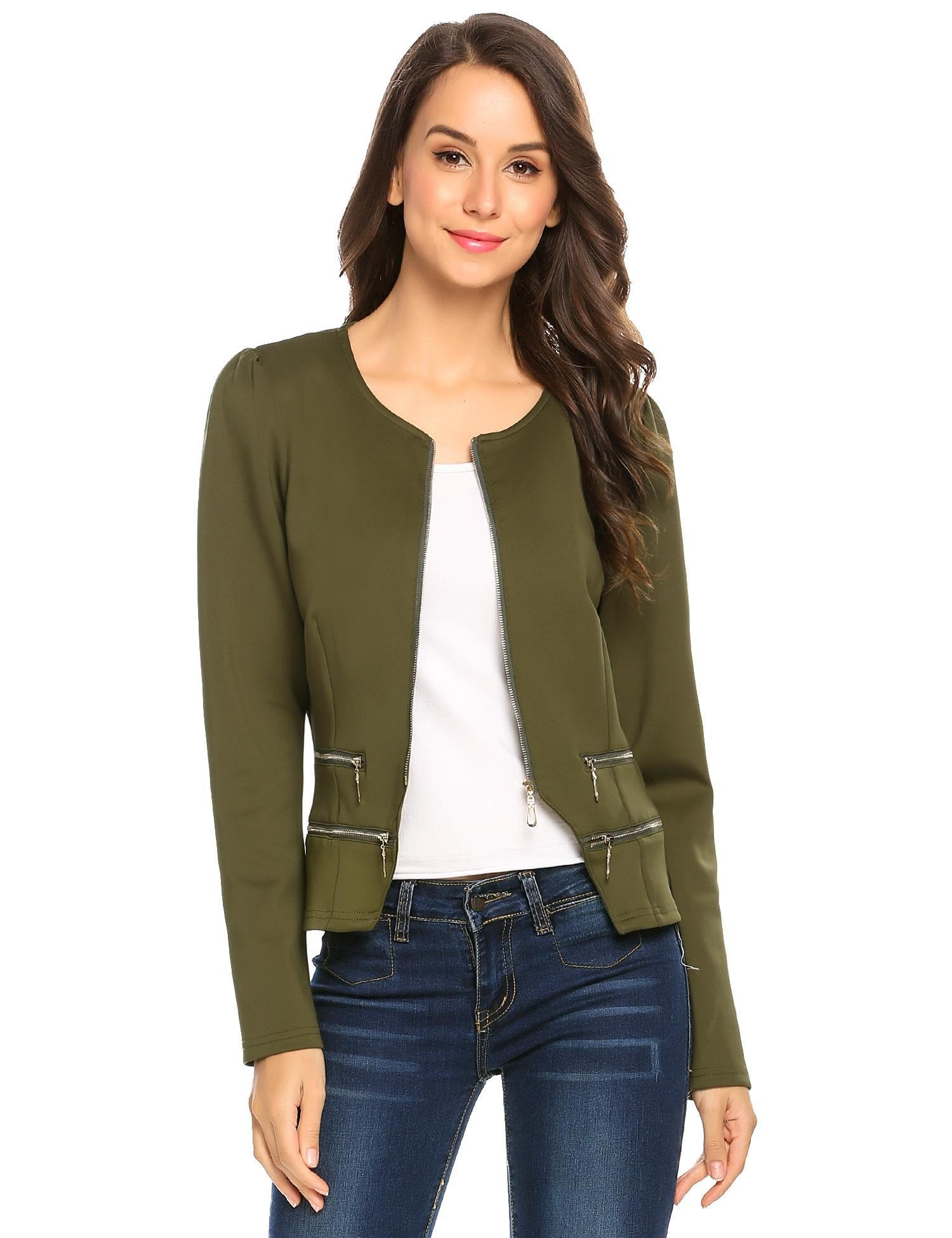 Zeagoo Women's Casual Zipper Cardigan Blazer O Neck Slim Fitted Office Jacket (L, Army Green)
