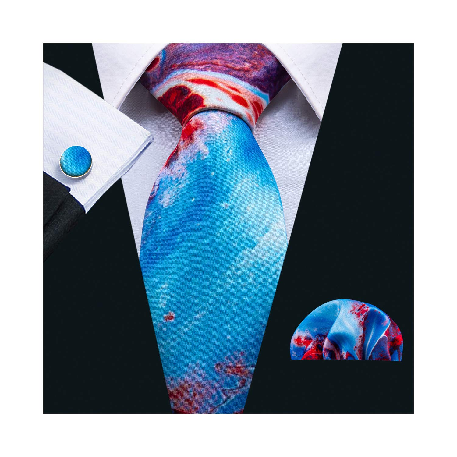 Barry.Wang Printed Silk Tie Set Hanky Cufflinks Party Neckties (Blue Red)